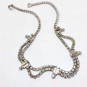 "🆕Vintage ""Emerald Cut"" Rhinestone Necklace"